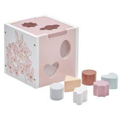 Caja de Encaje Rosa para encajar piezas de madera.