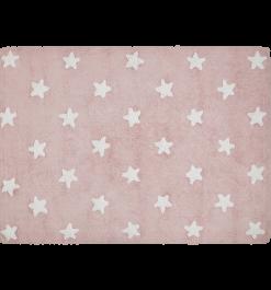 Alfombra estrellas rosa.
