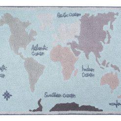 Alfombra Vintage Map Lorena Canals.lavable de algodón.
