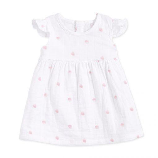 Vestido algodon puntito rosa.ropa bebe algodon